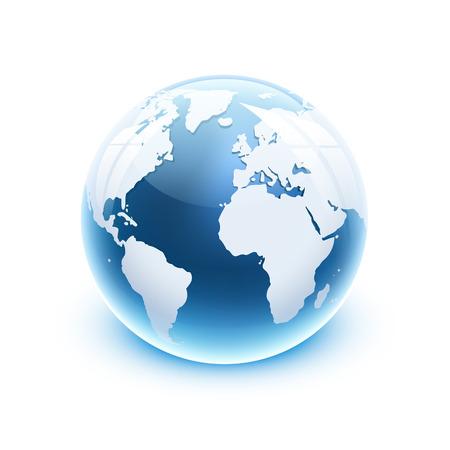 illustratie 3d glanzende glazen bol icoon van de wereld. Stock Illustratie