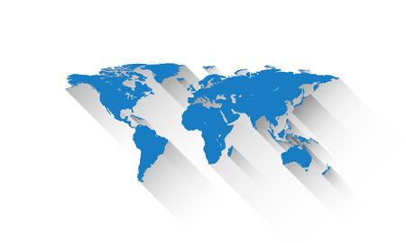 flat style world map illustration on background.