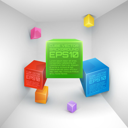 Vector 3d cube colorful abstract background. Vector