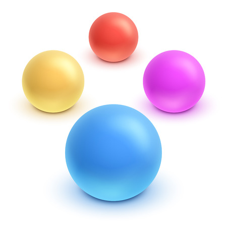 Vector 3d kids colorful rubber ball set. Ilustrace