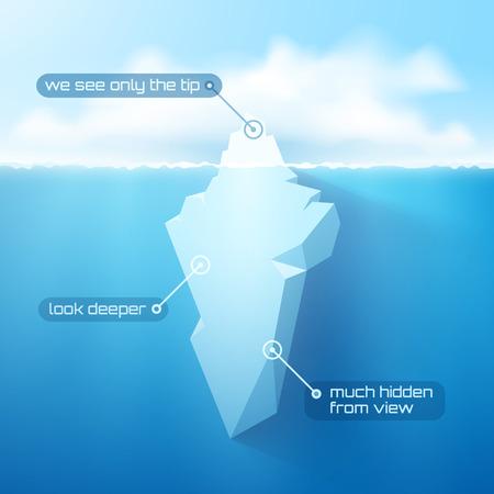 Vector 3d concetto iceberg illustrazione.
