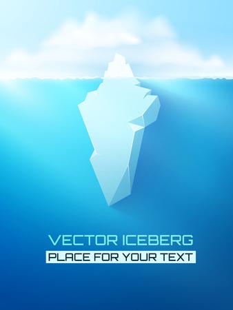 빙산: 벡터 3D 빙산 개념 그림. 일러스트