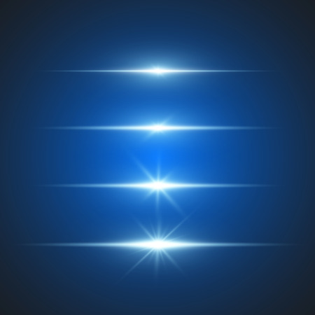 light beams: Vector set element light of lens effect. Illustration