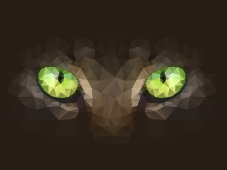Vector illustration. Cat eyes look at you out of the darkness, in the style of abstract triangles.