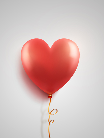 Vector red balloons in the shape of a heart on white background. Illustration