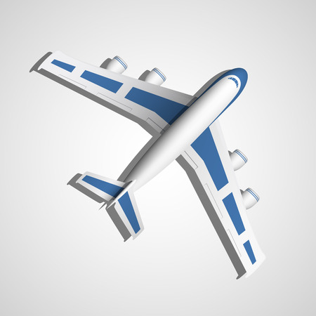 fuselage: blue airplane top view on white background Illustration
