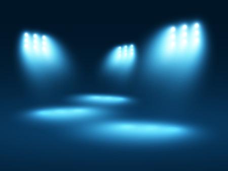 抽象的な光の効果青色の背景に、いくつかのスポット ライト