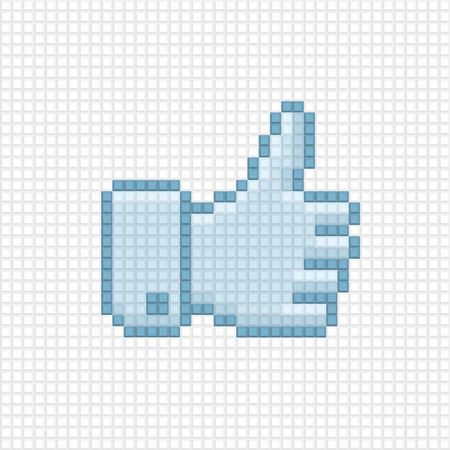 thumb up icon: Thumb up icon in the style of pixel art. Illustration