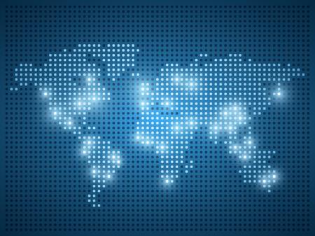 光の効果で青の背景に世界地図のドット イラスト。