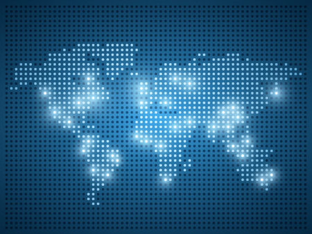 World map dot illustration on blue background with light effect.
