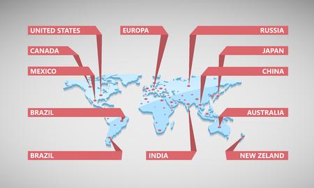 紙ステッカーの世界の世界地図。  イラスト・ベクター素材