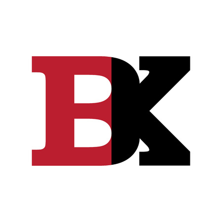 Abstract BK Initials in red and black illustration. Illustration
