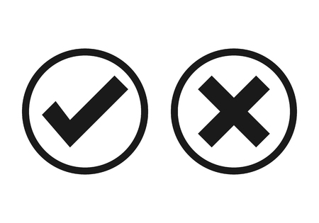 Check mark icons. Vector line icons set. Tick and cross checkmarks isolated on white background. 向量圖像