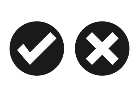 Check mark vector. Check list button icon. Ok vector icon. No vector icon Stock Illustratie