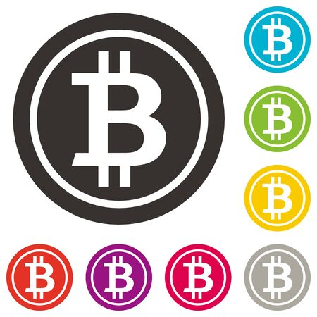 Bitcoin icon. Crypto currency symbol. Bitcoin symbol in flat design. Blockchain
