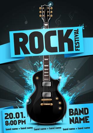 design: Vector rock festival flyer design template with guitar