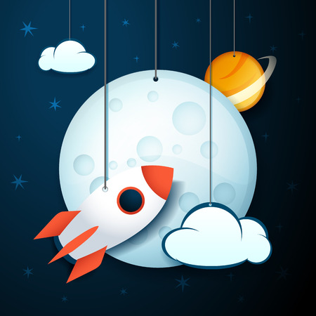 cartoon banner: vector illustration moon, cloud, planet and rocket