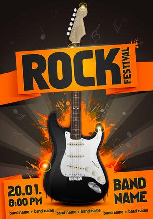 vector rock festival flyer design template with guitar 向量圖像