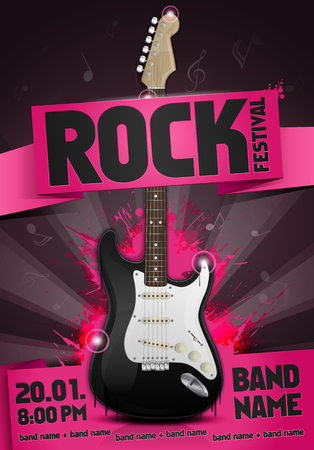 vector rock festival flyer design template with guitar Illustration