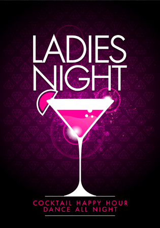 Vector party ladys night flyer design template with cocktail glass