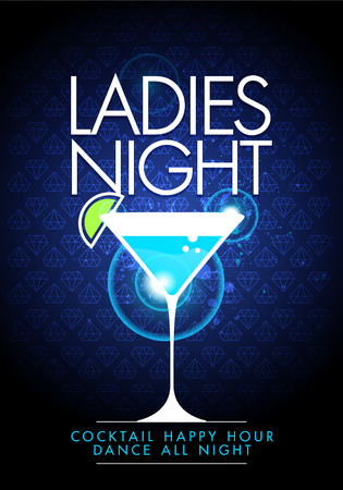 ladys: Vector party ladys night flyer design template with cocktail glass