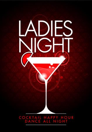 カクテル グラスを持つベクトル パーティー女性夜チラシのデザイン テンプレート