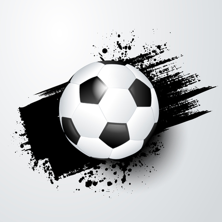 Football world or european championship with ball and black splash.