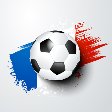 Football world or european championship with ball and france flag colors.