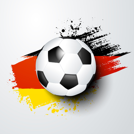 A football world or European championship with ball and Germany flag colors.