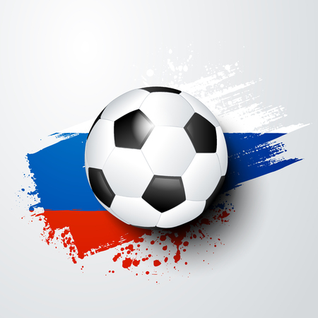 A football world or European championship with ball and Russia flag colors.