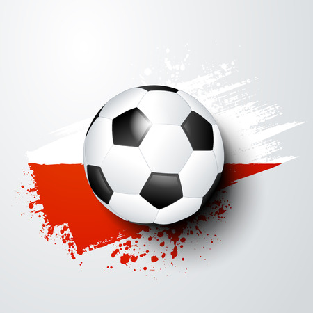 A football world or European championship with ball and Poland flag colors. Illustration
