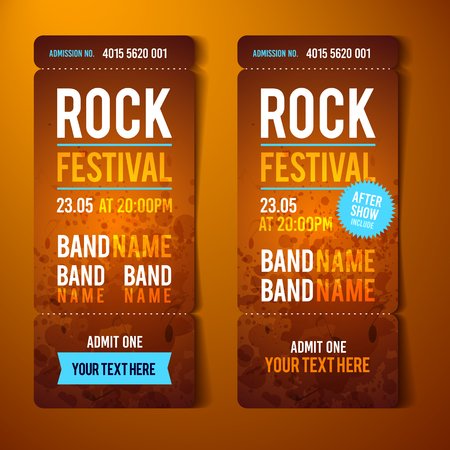 Rock festival ticket design template with grunge effects vector illustration.