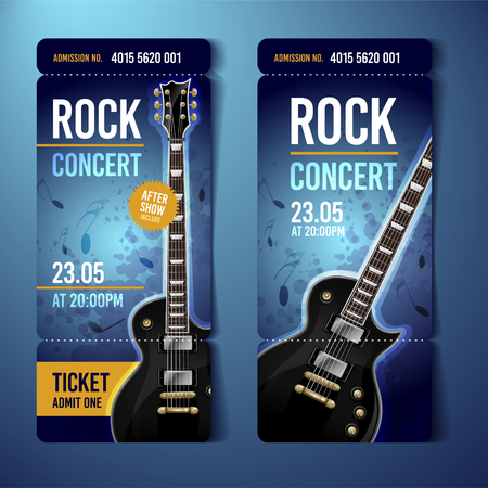 vector illustration blue rock concert ticket template design template with black guitar and cool splash effects in the background.