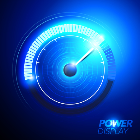 vector illustration of blue car fuel power speedometer pushing to limit with cool energy glow effects.