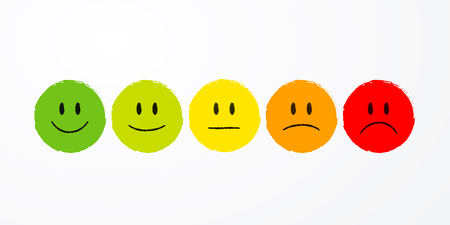 Smiley emoticons emoji icon positive, neutral and negative.
