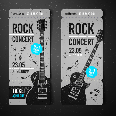 vector illustration black rock concert ticket design template with modern guitar and cool splash effects in the background
