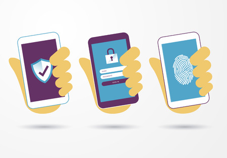 vector illustration hand holding smart mobile phone with security protection business information with shield and lock symbol. Protected networks and antivirus services, secure access, hacking etc. Vectores
