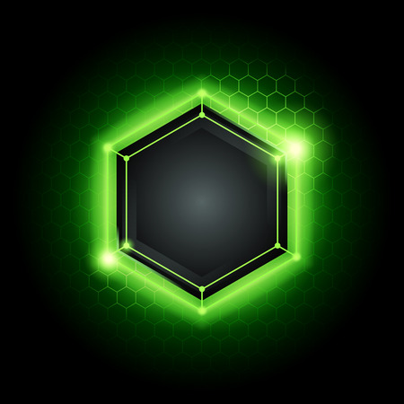 vector illustration green abstract modern metal cyber technology background with poly hexagon pattern and green light Ilustração