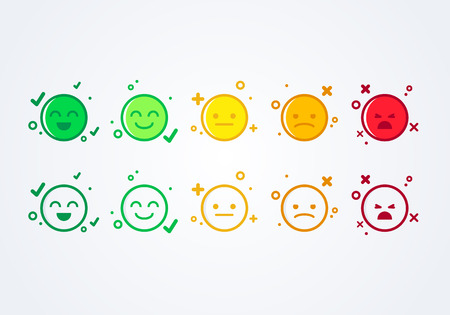 smiley emoticons emoji icon positive, neutral and negative.