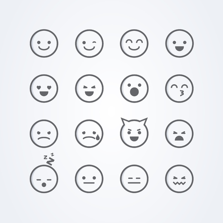 A Vector illustration of abstract funny cute flat style emoji emoticon icon set with different moods on background Illustration