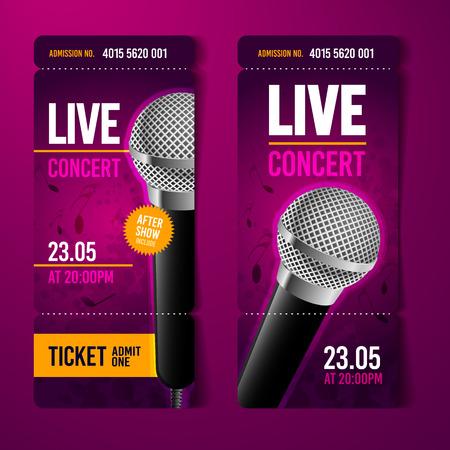 A Vector Illustration Pink Music Concert Ticket Design Template ...