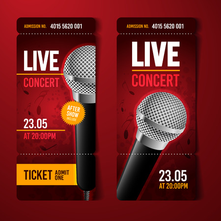A vector illustration red music concert ticket design template with microphone and grunge grunge effects in the background