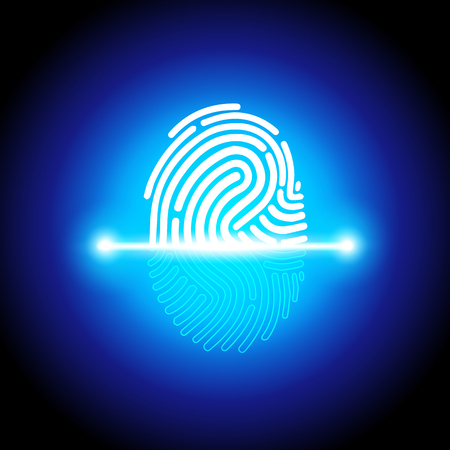 Vector illustration fingerprint scanning identification system, biometric authorization and business security concept
