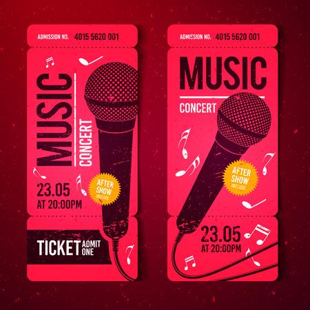 Vector Illustration Red Music Concert Ticket Design Template ...