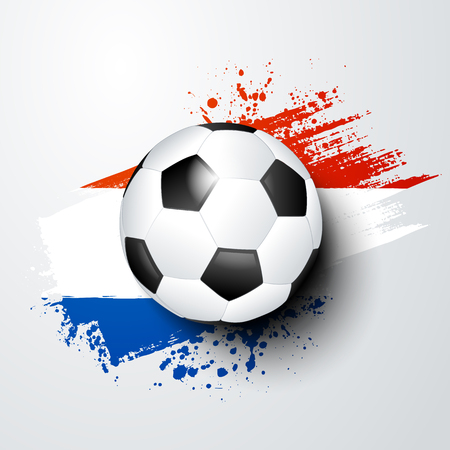 vector illustration football world or european championship with ball and netherlands flag colors. Illustration