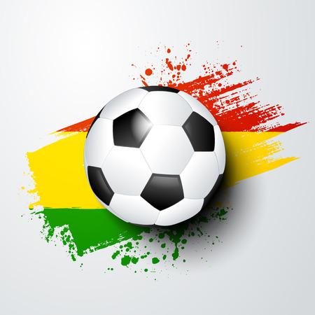 vector illustration football world championship with ball and ghana flag colors.