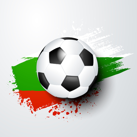 vector illustration football world or european championship with ball and bulgaria flag colors. Illustration
