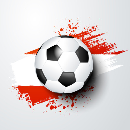 vector illustration football world or european championship with ball and austria flag colors. Illustration