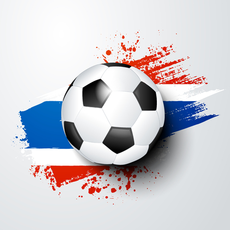 vector illustration football world championship with ball and thailand flag colors. Illustration