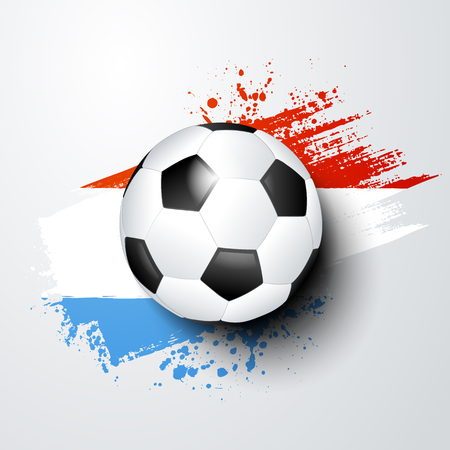 vector illustration football world or european championship with ball and luxembourg flag colors.